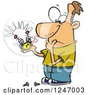 Cartoon Caucasian Man Pondering On How To Repair A Thingee