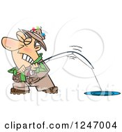 Clipart Of A Cartoon Caucasian Man Trying To Pull In A Tough Fish Royalty Free Vector Illustration