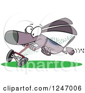 Clipart Of A Cartoon Dog Running With A Lawn Mower Royalty Free Vector Illustration