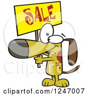 Clipart Of A Cartoon Dog Holding Up A Sale Sign Royalty Free Vector Illustration