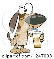 Clipart Of A Cartoon Dog Drinking A Latte Royalty Free Vector Illustration
