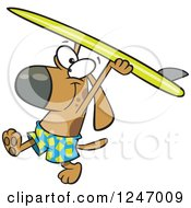 Clipart Of A Cartoon Surfer Dog Walking With His Board Over His Head Royalty Free Vector Illustration