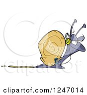Clipart Of A Happy Snail Listening To Music Royalty Free Vector Illustration