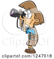Clipart Of A Cartoon Happy Brunette Woman Taking Pictures Royalty Free Vector Illustration