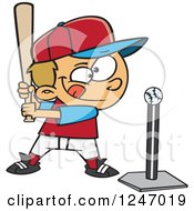 Clipart Of A Cartoon Focused Caucasian Boy Batting A Tee Ball Royalty Free Vector Illustration by toonaday