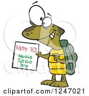 Clipart Of A Happy Tortoise Holding A May 23 World Turtle Day Calendar Royalty Free Vector Illustration