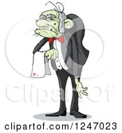 Clipart Of A Spookie Hunchback Zombie Butler Man Royalty Free Vector Illustration by Holger Bogen