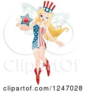 Clipart Of A Patriotic American Flag Fairy Holding Out A Star Royalty Free Vector Illustration