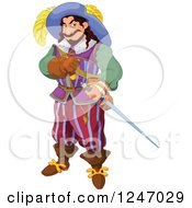 Clipart Of A Noble Man With A Sword Royalty Free Vector Illustration