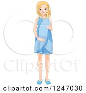 Pretty Blond Haired Blue Eyed Pregnant Woman Holding Her Belly