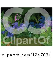 Clipart Of A Background Of Exotic Plants In A Dark Forest Royalty Free Vector Illustration