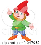 Clipart Of A Cute Male Gnome With An Idea Royalty Free Vector Illustration by Pushkin