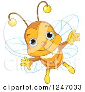 Clipart Of A Cute Blue Eyed Bee Flying Royalty Free Vector Illustration