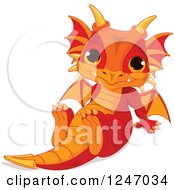 Clipart Of A Cute Red And Orange Baby Dragon Sitting Back Royalty Free Vector Illustration