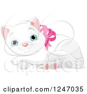 Clipart Of A Cute Blue Eyed White Kitten Resting In A Pink Bow Collar Royalty Free Vector Illustration