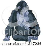 Clipart Of A Cute Gorilla Sitting Upright Royalty Free Vector Illustration by Pushkin