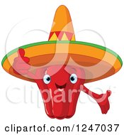 Mexican Red Pepper Character Wearing A Sombrero And Holding A Thumb Up