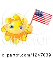 Clipart Of A Cute Blue Eyed Sun Holding An American Flag Royalty Free Vector Illustration
