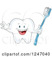Clipart Of A Cheering Tooth Character Holding A Brush Royalty Free Vector Illustration by Pushkin