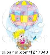 Clipart Of A Bird By A Cat And Blond Girl In A Hot Air Balloon Royalty Free Vector Illustration