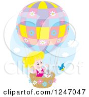 Clipart Of A Bird By A Cat And Blond Caucasian Girl In A Hot Air Balloon Royalty Free Vector Illustration by Alex Bannykh