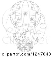 Clipart Of A Black And White Bird By A Cat And Girl In A Hot Air Balloon Royalty Free Vector Illustration by Alex Bannykh