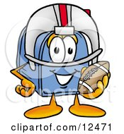 Blue Postal Mailbox Cartoon Character In A Helmet Holding A Football