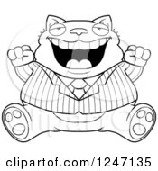 Clipart Of A Black And White Fat Business Cat Sitting And Cheering Royalty Free Vector Illustration