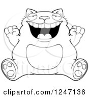 Clipart Of A Black And White Fat Cat Sitting And Cheering Royalty Free Vector Illustration