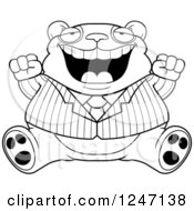 Clipart Of A Black And White Fat Business Panda Sitting And Cheering Royalty Free Vector Illustration