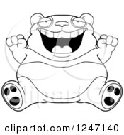 Clipart Of A Black And White Fat Panda Sitting And Cheering Royalty Free Vector Illustration