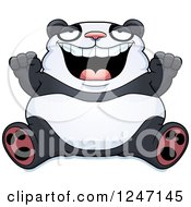 Clipart Of A Fat Panda Sitting And Cheering Royalty Free Vector Illustration