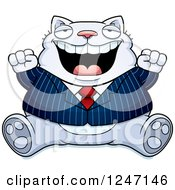 Clipart Of A Fat Business Cat Sitting And Cheering Royalty Free Vector Illustration