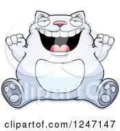 Clipart Of A Fat Cat Sitting And Cheering Royalty Free Vector Illustration