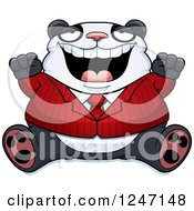 Clipart Of A Fat Business Panda Sitting And Cheering Royalty Free Vector Illustration