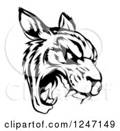 Clipart Of A Black And White Roaring Tiger Mascot Head Royalty Free Vector Illustration