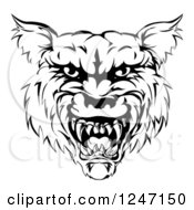 Clipart Of A Growling Black And White Vicious Wolf Face Royalty Free Vector Illustration