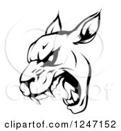 Clipart Of A Black And White Roaring Panther Mascot Head Royalty Free Vector Illustration