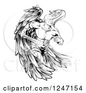 Clipart Of A Black And White Muscular Male Guardian Angel With A Sword Royalty Free Vector Illustration