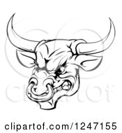 Clipart Of A Black And White Aggressive Snarling Bull Royalty Free Vector Illustration