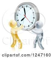 Clipart Of 3d Gold And Silver Men Holding Up A Clock Royalty Free Vector Illustration