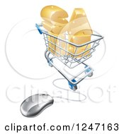 Clipart Of A 3d Computer Mouse Wired To SALE In A Shopping Cart Royalty Free Vector Illustration