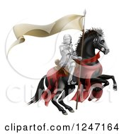 Clipart Of A 3d Armoured Knight On A Black Steed With A Ribbon Banner Flag Royalty Free Vector Illustration