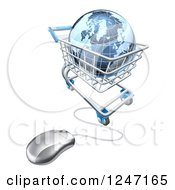 Clipart Of A 3d Blue Earth Globe In A Computer Shopping Cart Royalty Free Vector Illustration