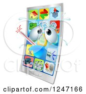 Clipart Of A 3d Smart Phone Sick With A Fever Royalty Free Vector Illustration by AtStockIllustration