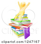 Clipart Of A 3d Gold Man Sitting On A Stack Of Books And Cheering Royalty Free Vector Illustration