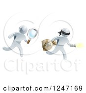 Clipart Of A 3d Silver Detective Chasing A Robber With A Magnifying Glass Royalty Free Vector Illustration