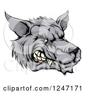 Clipart Of A Snarling Vicious Wolf Face Royalty Free Vector Illustration