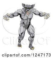 Clipart Of A Muscular Vicious Wolf Royalty Free Vector Illustration