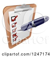 Clipart Of A Pen Checking On Items On A Clipboard Royalty Free Vector Illustration by AtStockIllustration